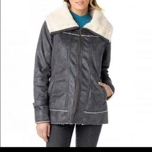 Prana tricia jacket faux suede grey sherpa line L